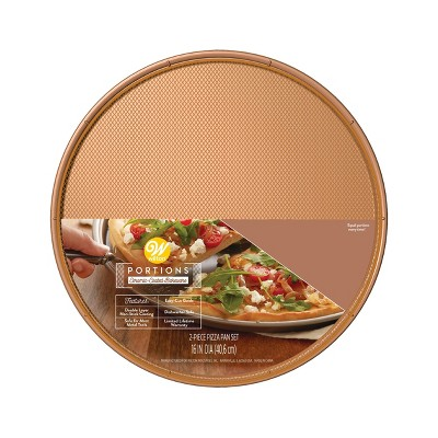 "Wilton 16"" Rose Gold Ceramic Pizza Pan"