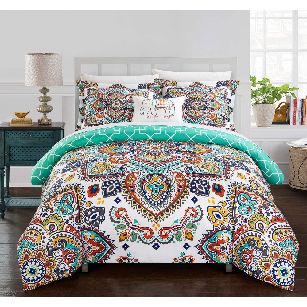 King 8pc Kacey Bed In A Bag Comforter Set Aqua - Chic Home Promos