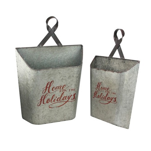 """Melrose Set of 2 Gray and Red """"Home for the Holidays"""" Weathered Christmas Wall Buckets 18"""" - image 1 of 2"""