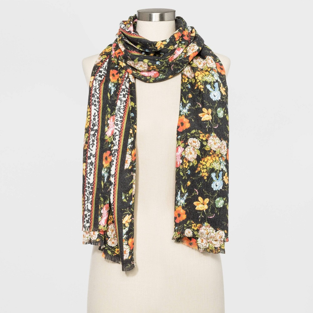 Image of Women's Floral Print Collection XIIX Scarves - One Size, Women's, Black
