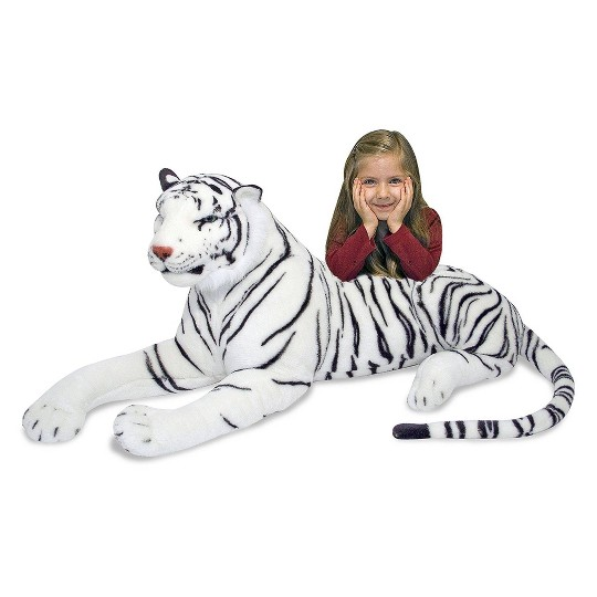 Melissa & Doug Giant Siberian White Tiger - Lifelike Stuffed Animal (over 5 feet long) image number null