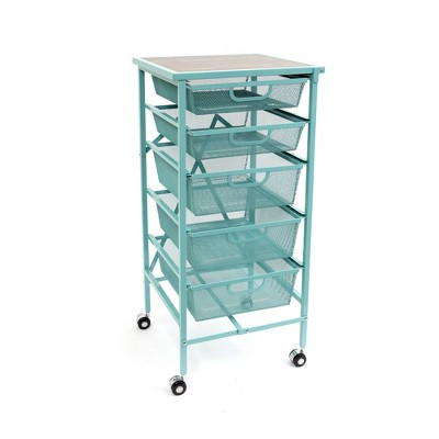 Origami Wheeled Folding Steel 5 Drawer Storage Kitchen Cart Wood Top, Turquoise