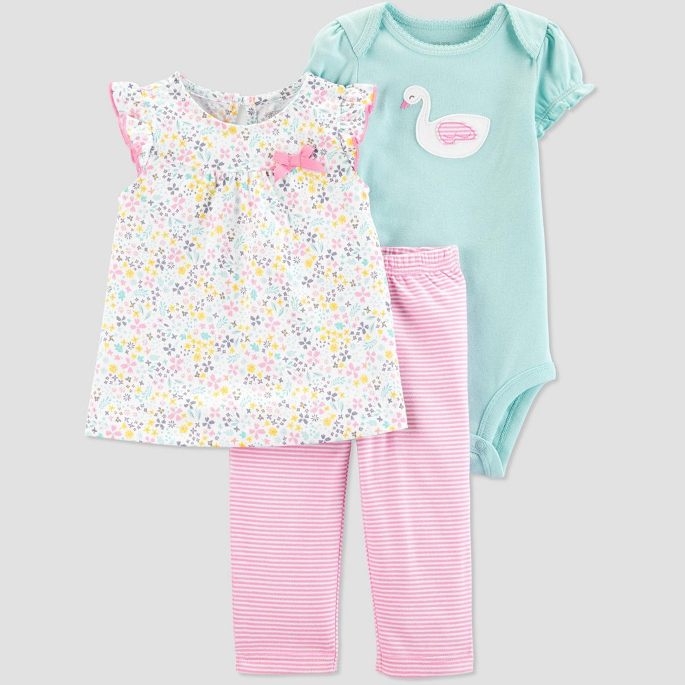 Baby Girls' 3pc Swan Floral Top and Bottom Set - Just One You made by carter's Mint 18M, Blue