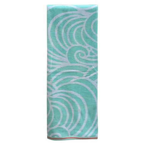 Waves Xl Beach Towel Mint Evergreen