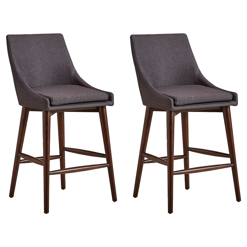 Sullivan Mid Century Barrel Back Counter Chair (Set Of 2) - Charcoal - Inspire Q, Charcoal Heather