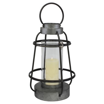 Stonebriar Industrial Metal Hurricane Candle Lantern, Tall