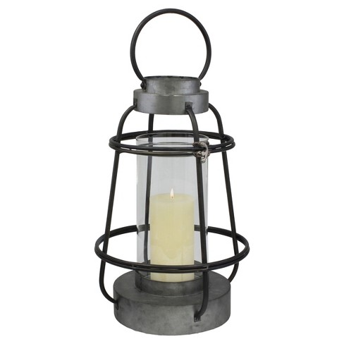 Stonebriar Industrial Metal Hurricane Candle Lantern, Tall - image 1 of 4