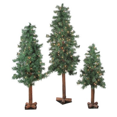 Northlight 3ct Prelit Artificial Christmas Trees Woodland Alpine 5' - Clear Lights