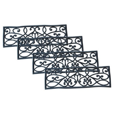 Outdoor Rubber Scrollwork Stair Tread 4pk   Black   AmeriHome