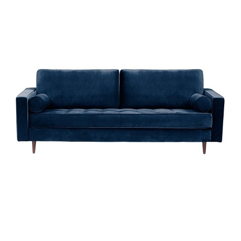 Bloomfield Mid Century Modern Sofa With Bolster Pillows Shire Blue Aeon