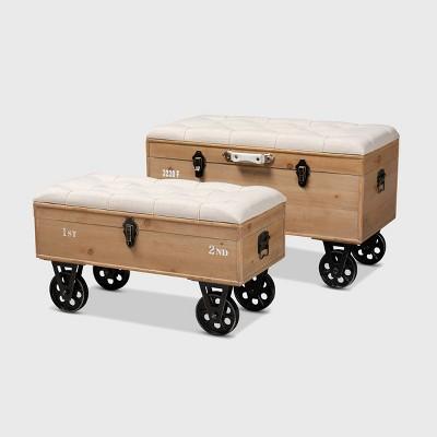 2pc Finlay Upholstered Wood & Metal Storage Ottoman Set - Baxton Studio