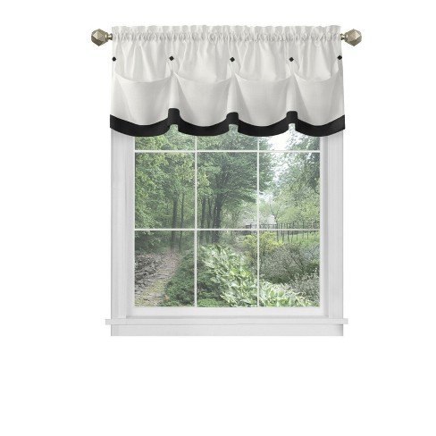 Kate Aurora Country Farmhouse Living Solid Colored Button Tuck Window Valance - image 1 of 3