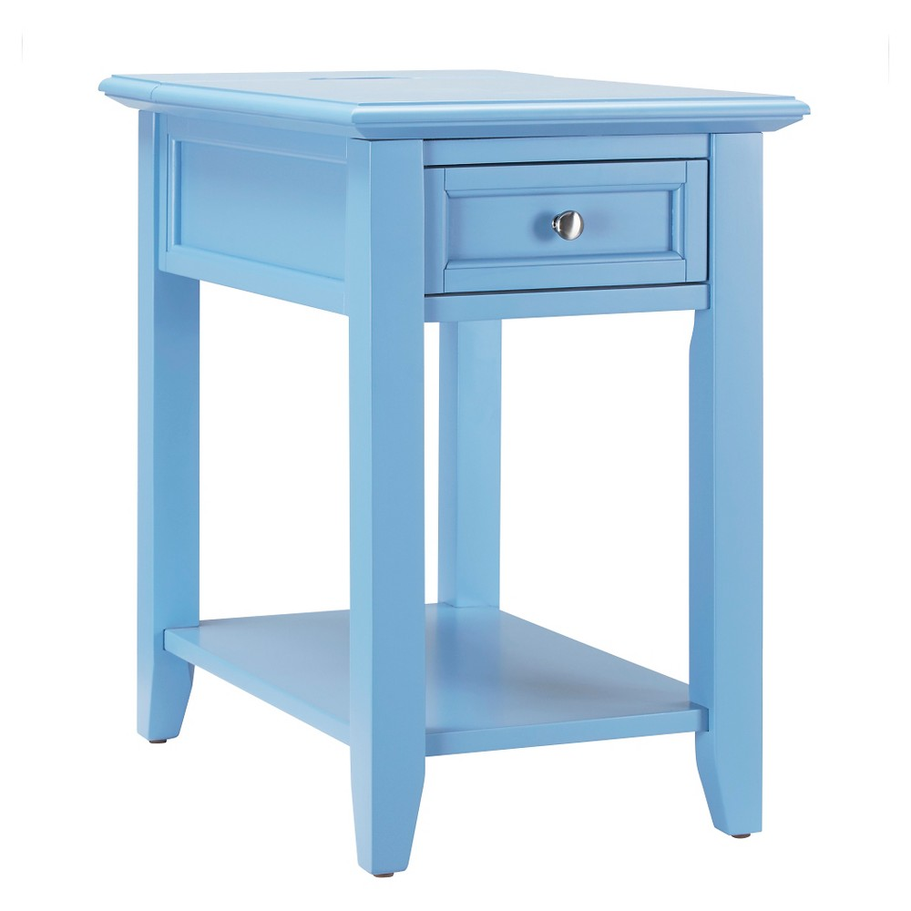 Resnick Accent Table with Hidden Outlet - Blue - Inspire Q