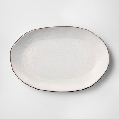 Cravings by Chrissy Teigen 16  Oval White Stoneware Platter with Brown Rim