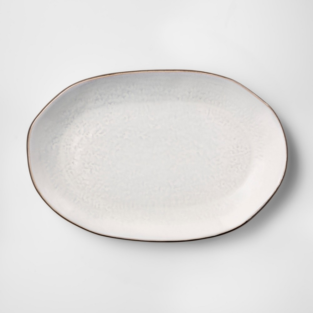 Image of Cravings by Chrissy Teigen 16 Oval White Stoneware Platter with Brown Rim