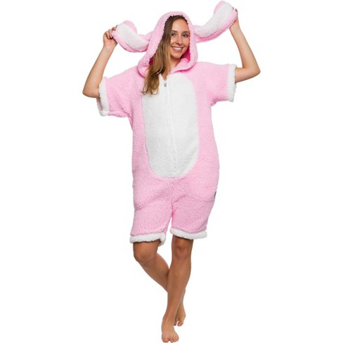 Funziez! Bunny Women's Short Sleeve Novelty Romper - image 1 of 4