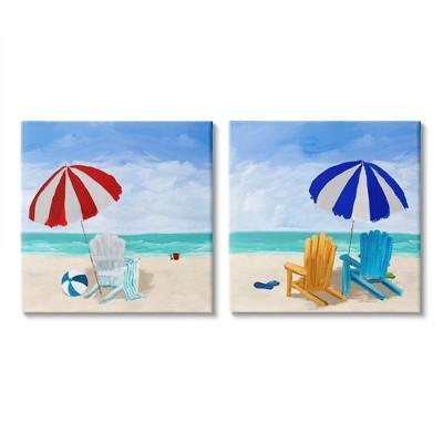 Stupell Industries Beach Chairs at Shore Summer Nautical Scene