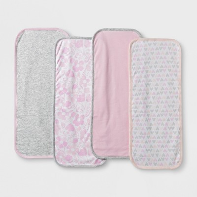Baby Girls' 4pk Clouds Burp Cloth Set - Cloud Island™ Pink