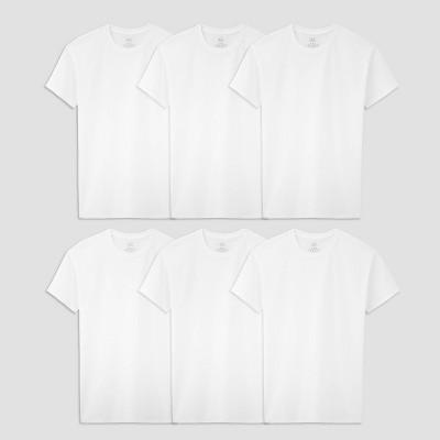 Fruit of the Loom Boys' 5+1 Bonus Pack Crew Neck T-Shirt - White
