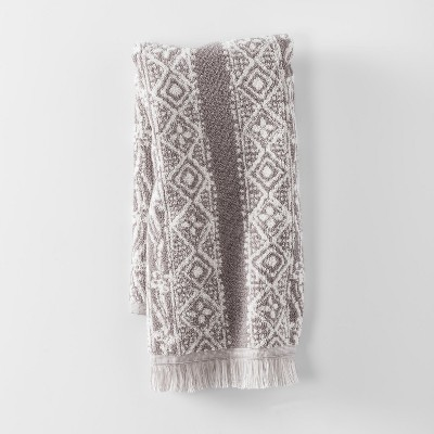 Hand Towel Stamped Geo Hand Towel Classic Gray Bath Towels And Washcloths Classic Gray - Threshold™