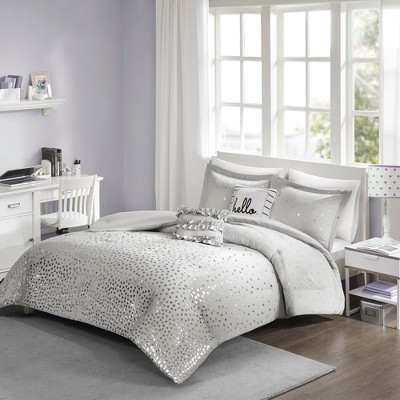 Gray & Silver Nova Metallic Comforter Set (Full/Queen)5pc