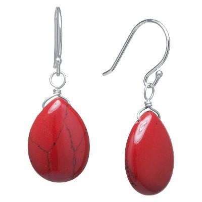 Sterling Silver Jasper Tear Drop Earrings - Red/Silver