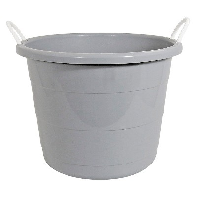 Plastic Storage Bin with Woven Handles Gray - Pillowfort™