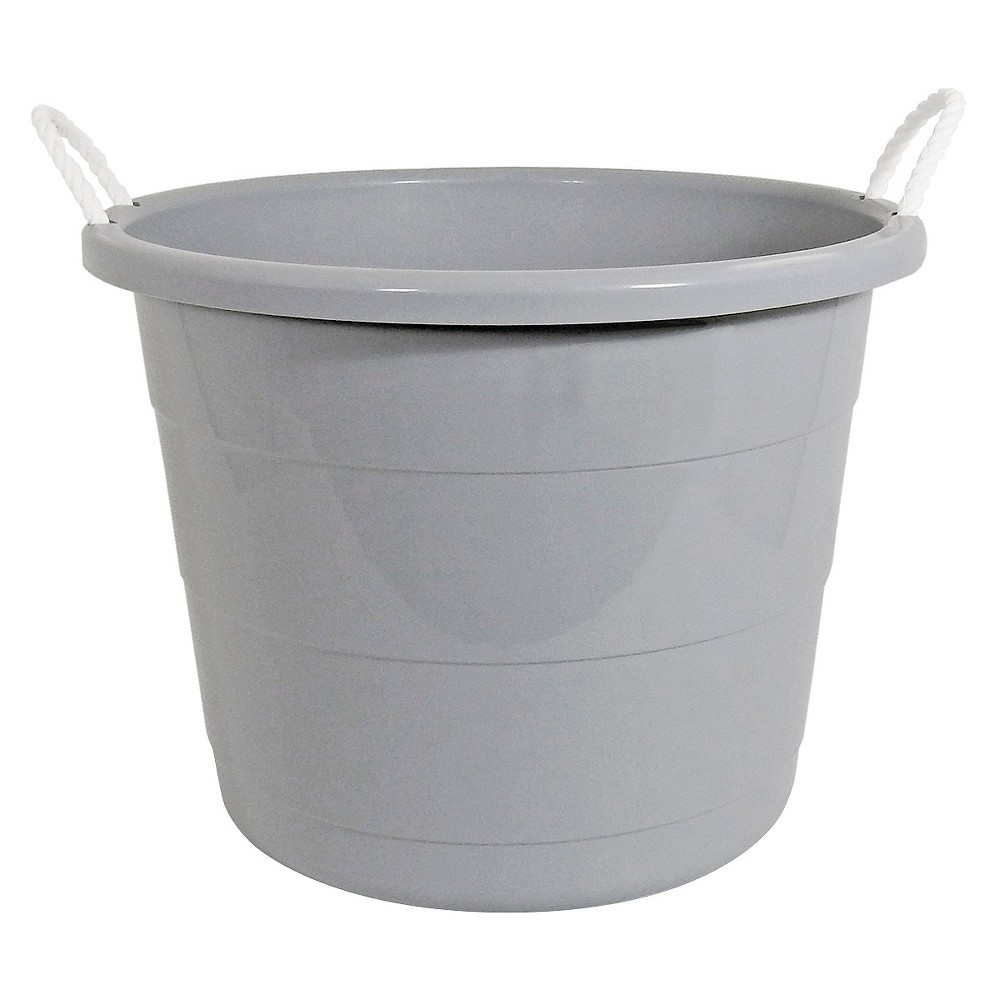 Image of Plastic Storage Bin with Woven Handles Gray - Pillowfort