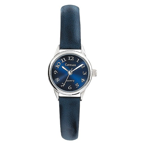 Women's Carriage by Timex Watch with Leather Strap - Silver/Blue C2A871TG - image 1 of 1