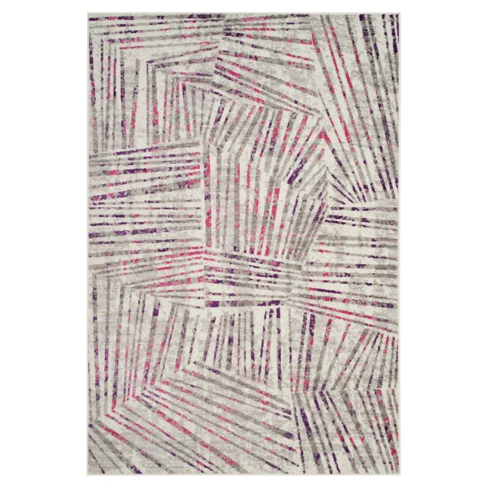 Gray/Pink Thin Stripe Loomed Area Rug 8'X10' - Safavieh