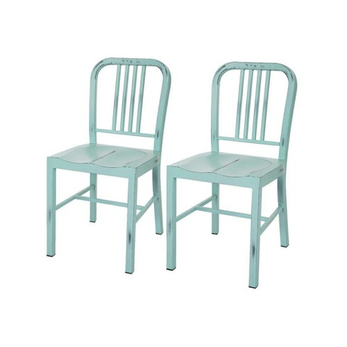 Set of 2 Vintage Metal Dining Chair - Mint - Glitzhome - image 1 of 7