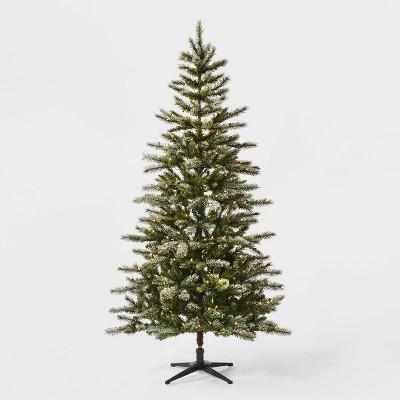 7ft Pre-Lit Flocked Douglas Fir Artificial Tree Clear Lights - Wondershop™