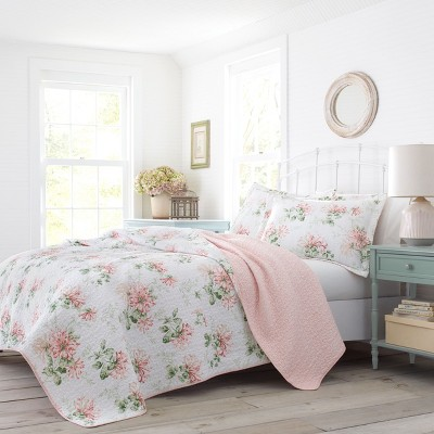 King Honeysuckle Quilt Set Pink - Laura Ashley