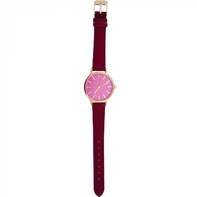 Olivia Pratt Velvet Strap Fashion Watch W/ Rose Dial