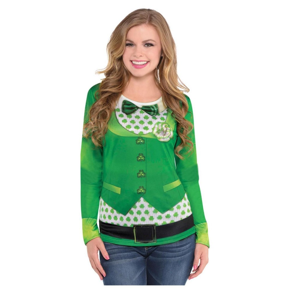 St. Patrick's Day Women's Long Sleeve Top Adult Costume Large/X-Large, Size: Medium/Large, Green