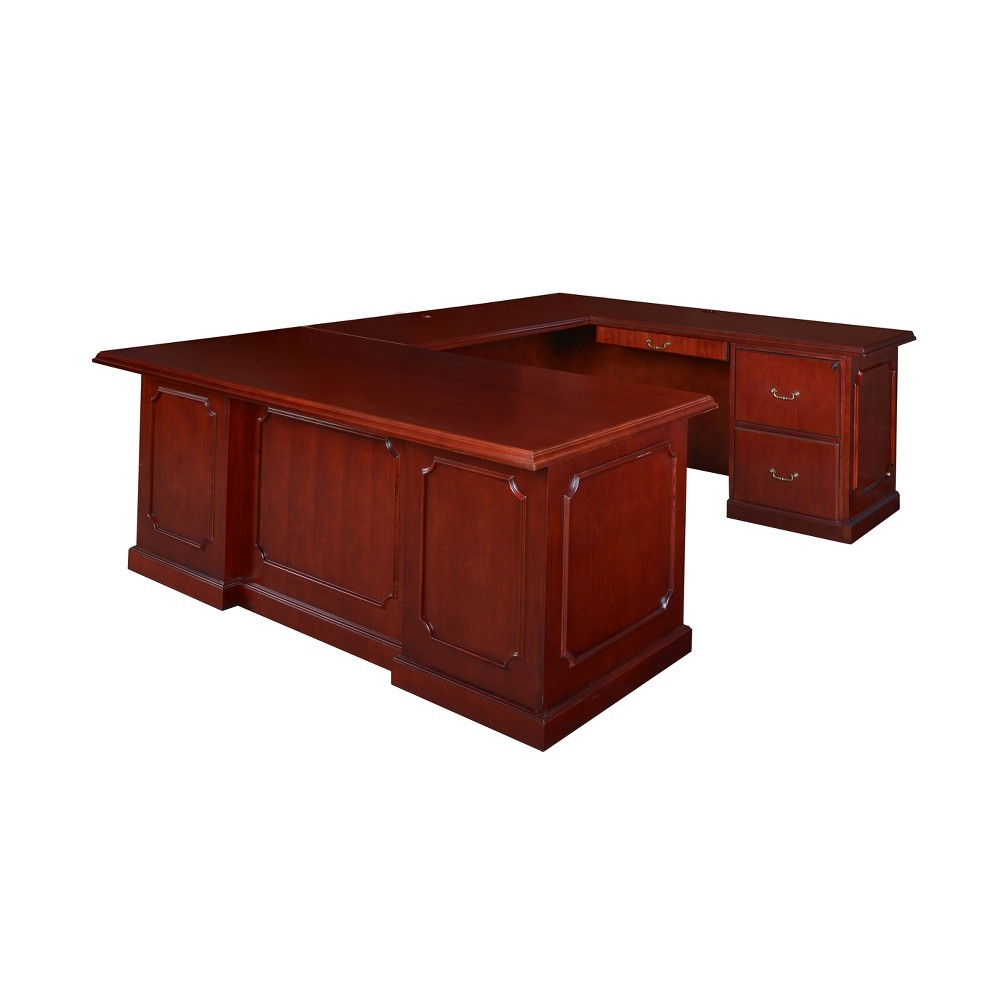 72 Prestige Double Pedestal U-Desk Mahogany (Brown) - Regency