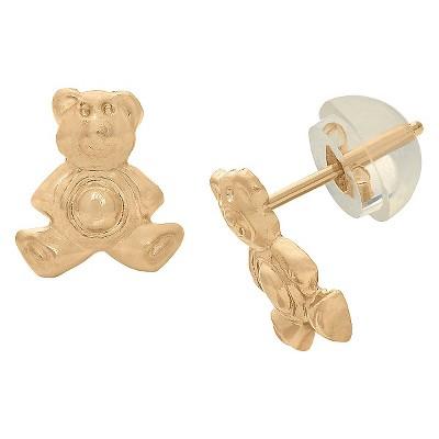 Tiara Kid's Teddy Bear Stud Earrings in 14K Yellow Gold