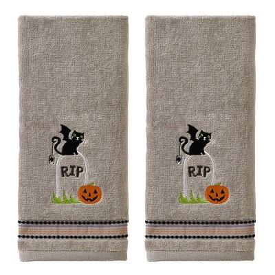 2pc Graveyard Cat Hand Towel Gray - SKL Home