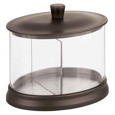 Oval Bathroom Vanity Canister with Dividers Clear/Bronze - iDESIGN