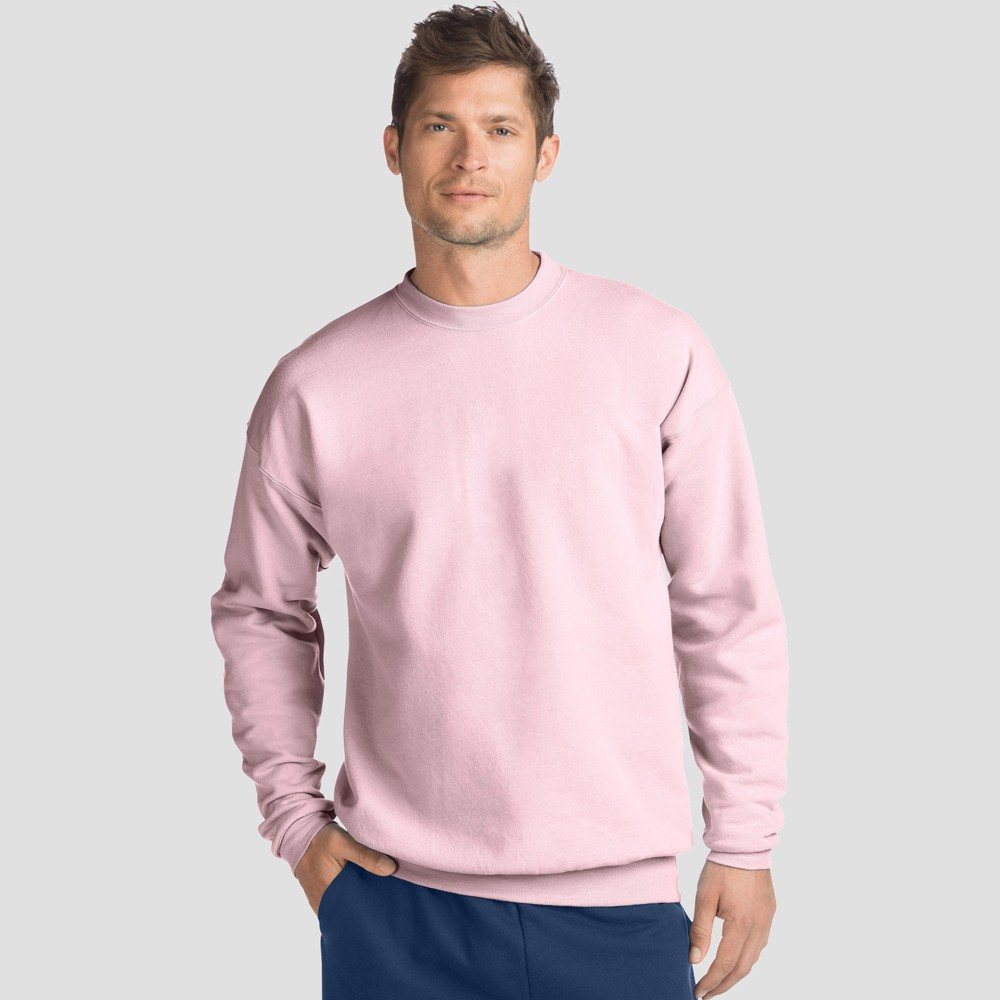 Hanes Men's EcoSmart Fleece Crew Neck Sweatshirt - Pale Pink M
