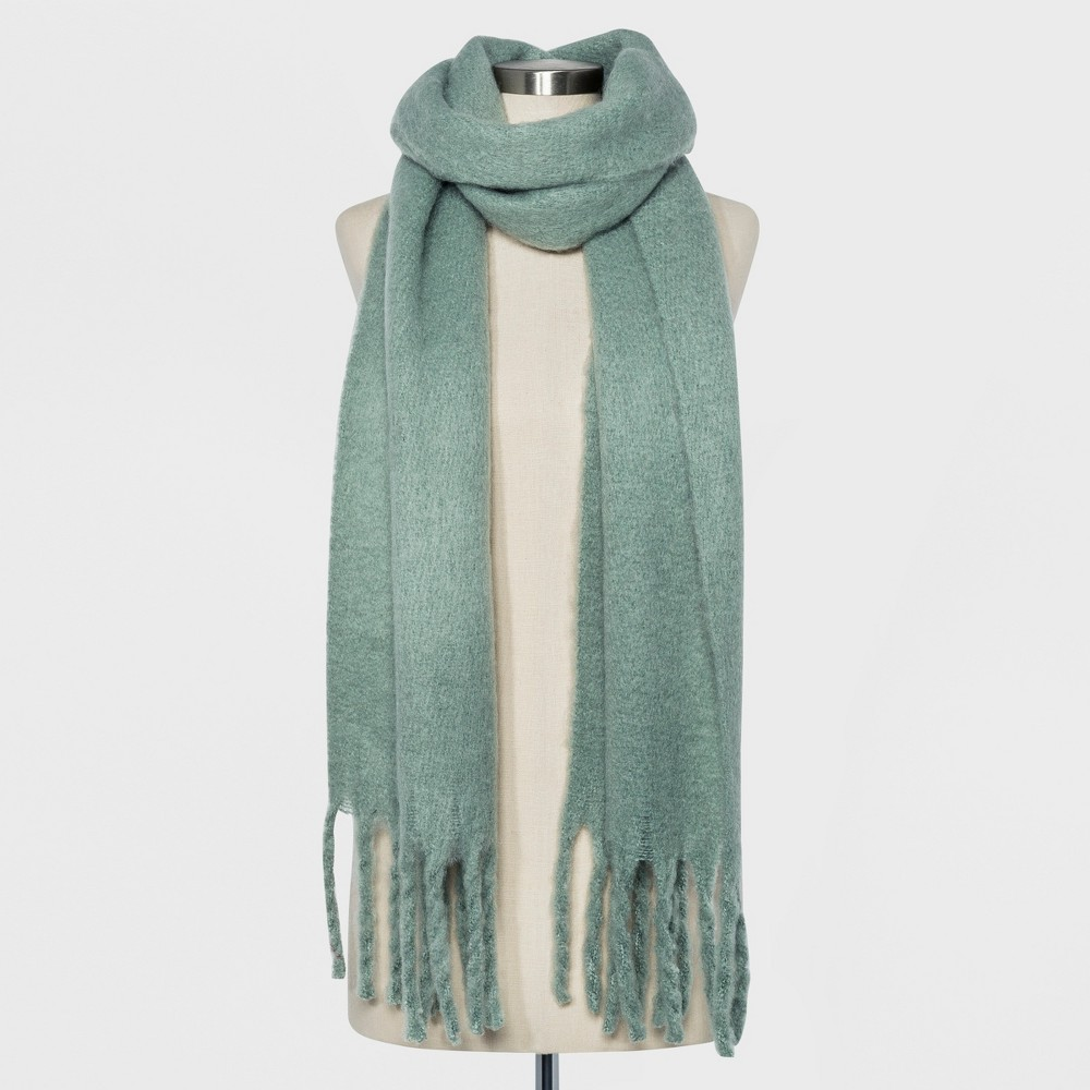 Women's Brushed Woven Blanket Scarf - A New Day Green, Mesmerising Green