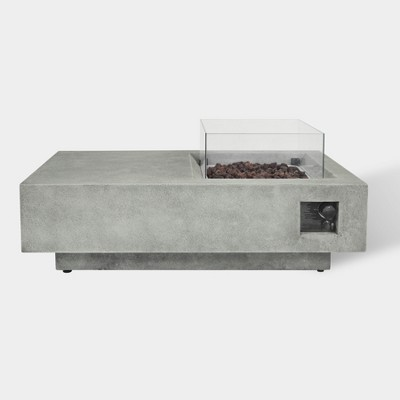 Argent 48  Rectangle Cement Fire Table - Gray - Bond