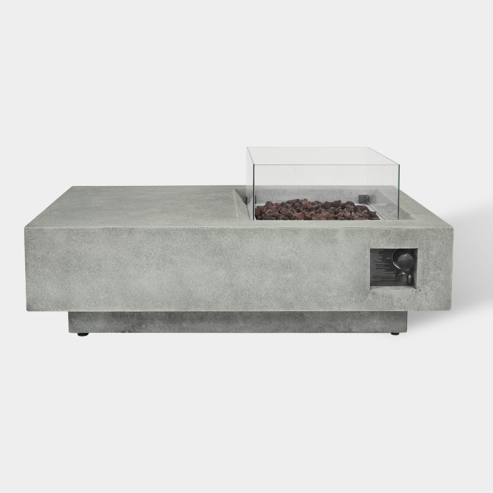 Image of Argent 48 Rectangle Cement Fire Table - Gray - Bond