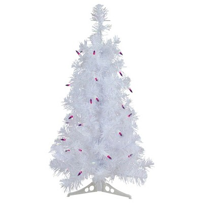 Northlight 2' Prelit Artificial Christmas Tree White Iridescent Pine - Purple Lights
