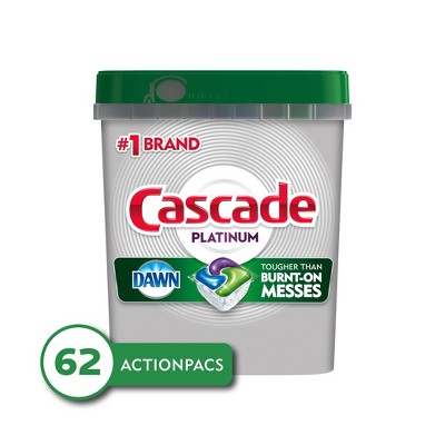 Cascade Platinum ActionPacs Dishwasher Detergent - Fresh - 62ct