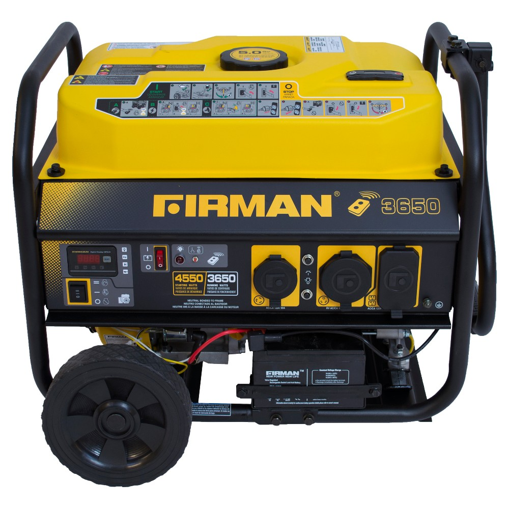 3650/4550W Gas Powered Portable Remote Starter Generator With Wheel Kit-Carb Compliant - Yellow - Firman Power