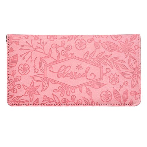 Juvale Checkbook Cover Wallet Credit Card Holder with RFID Blocking, Embossed Floral Design with Blessed Imprint for Women, PU Leather Pink - image 1 of 4