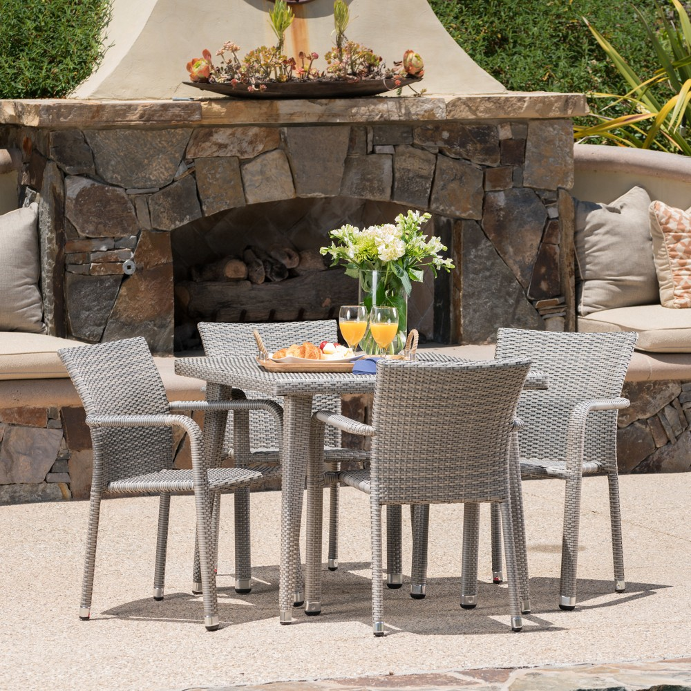 Rutledge 5pc Wicker Dining Set - Chateau Gray - Christopher Knight Home