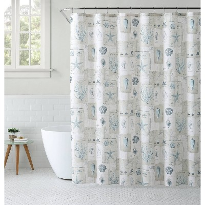 13pc Polygalon Seashell Shower Curtain Set White - VCNY
