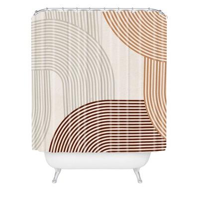 Iveta Abolina Mid Century Line Art Shower Curtain Brown - Deny Designs